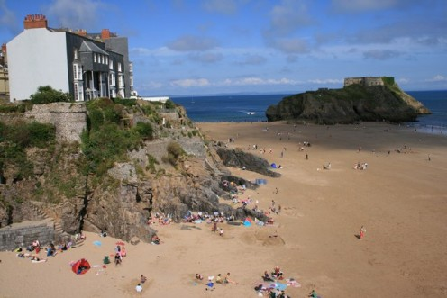 Tenby South Beach, Pembrokeshire, looking towards St.Catherine's Fort