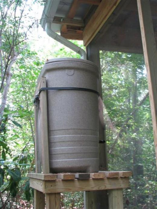 Our Fiskars 58 Gallon Rain Barrel and harvesting system.