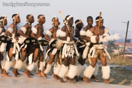 Zulu men in traditoinal clothes, dancing, but also, as they would likely look during Shaka's rule, but would be carrying spears, and much more larger Shield(isiviko)