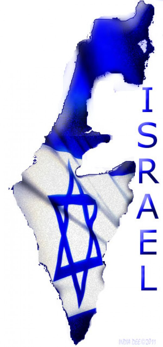 Israeli Flag over the country of Israel Map