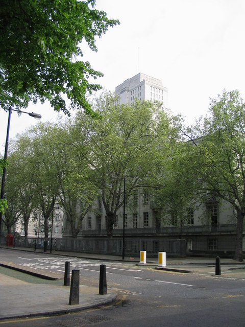 Looking north-east in Malet Street with the Senate House of University of London in the background