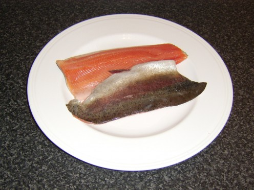 Fresh fillets of rainbow trout