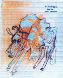 Cow painting a la Jean Dubuffet