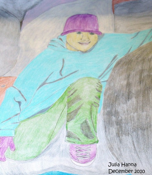 The completed sketch of my nephew by the boulders.