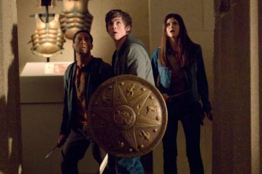 Brandon T. Jackson as Grover, Logan Lerman as Percy Jackson, and Alexandra Daddario as Annabeth Chase