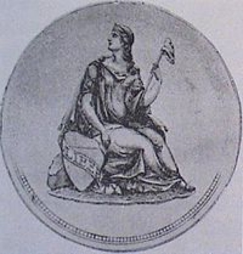 Rough design of the obverse of the Gobrecht silver dollar, designed by Thomas Sully.
