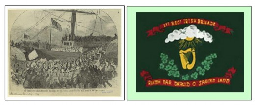 The regimental flag and an engraving of scene of departure of 69th New York Irish Volunteer regiment on 26 April, 1861