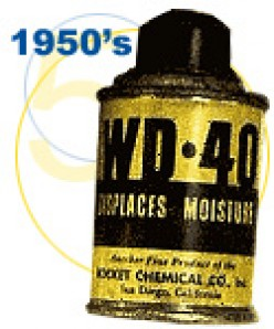 Rocket Chemical Company, Inc.'s New Water Displacement Perfected on the 40th attempt, more commonly known as WD-40, is so popular among Convair employees that they are known to sneak cans of it out of the plant for use at home.