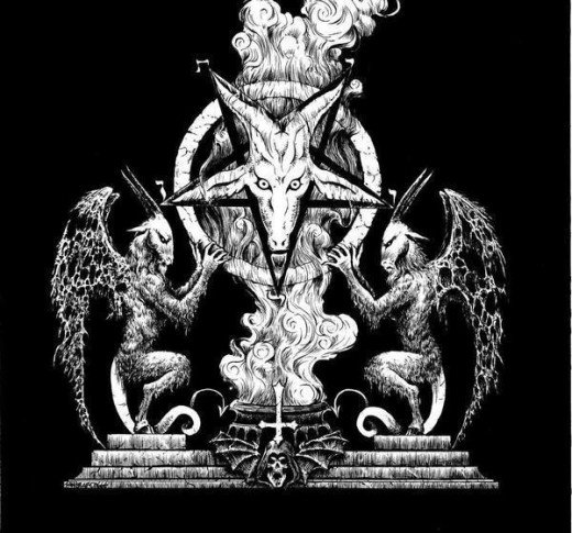 This is one symbol depicting the devil. This is the archetype for the devil card of the tarot. The five pointed star is emblematic of the devil, Lucifer and the morning star Venus.