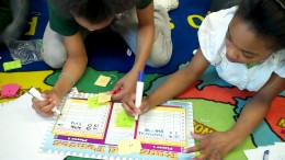 Students work together effectively solving math concepts.