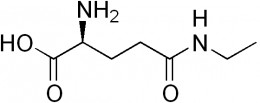 The chemical structure of L-theanine.  Anxiety, stress, and lack of focus are alleviated by this interesting little compound.