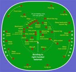 The red dots show the plethora of fielding positions on a cricket field.