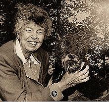Eleanor Roosevelt and Fala, the Roosevelt's dog