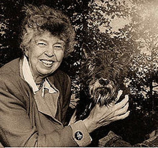 Eleanor Roosevelt and Fala, the Roosevelt's dog