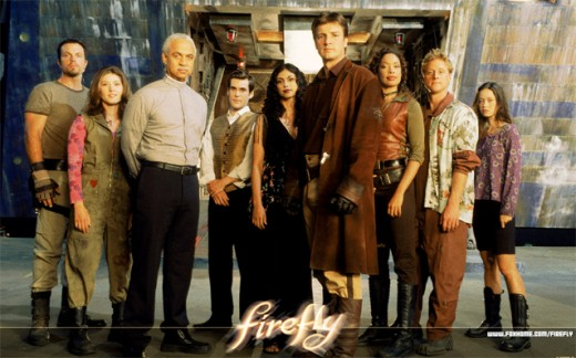 This picture is actually from the TV show Firefly. From left to right: Jayne, Kaylee, Shepherd Book, Simon, Inara, Mal, Zoe, Wash, River