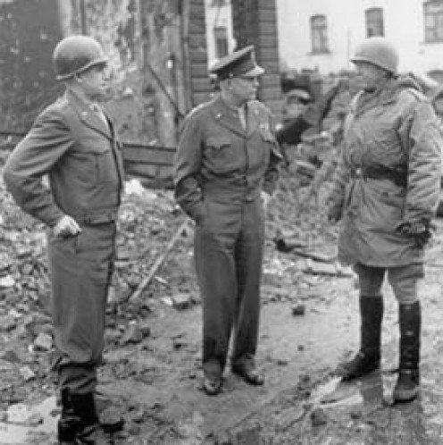 Generals Omar Bradley, Dwight D. Eisenhower and George S. Patton