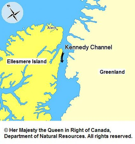 Map of Kennedy Channel - the area of the dispute