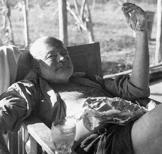 circa 1954: Ernest Hemingway on safari in Kenya