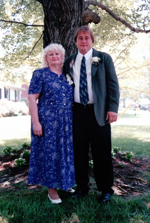 Image of my mother with her loving son, Billy, on his wedding day.