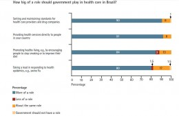Brazilians also emphasized the need for government to provide a clear, easy way to access health information and information on health services, as well as to seek respondents views when setting priorities for health services.