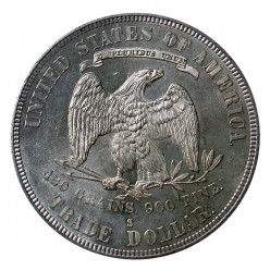 The back of the Trade dollar.  Note the 420 grains, 900 fine imprinted on this silver dollar.