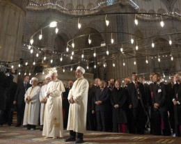 Pope Benedict XVI prays alongside Mustafa Cagrici, the grand mufti of Istanbul, in the Turkish capitals Blue Mosque in November 2006