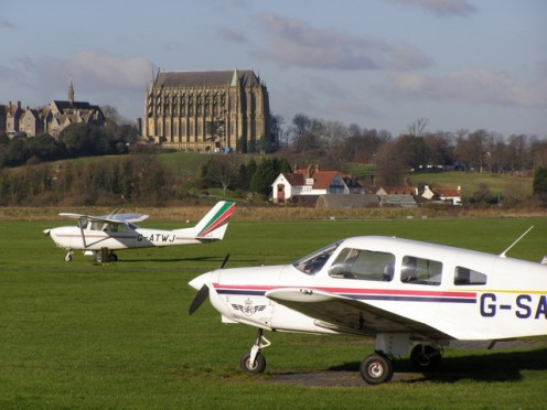 Lancing College Chapel as seen from Shoreham Airport