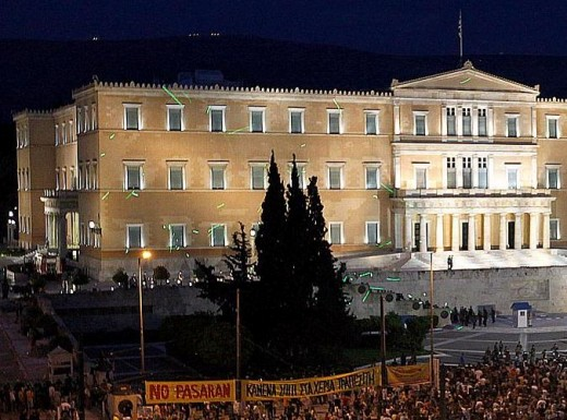 European Sovereign Debt Crisis: Protest outside Greece Parliament