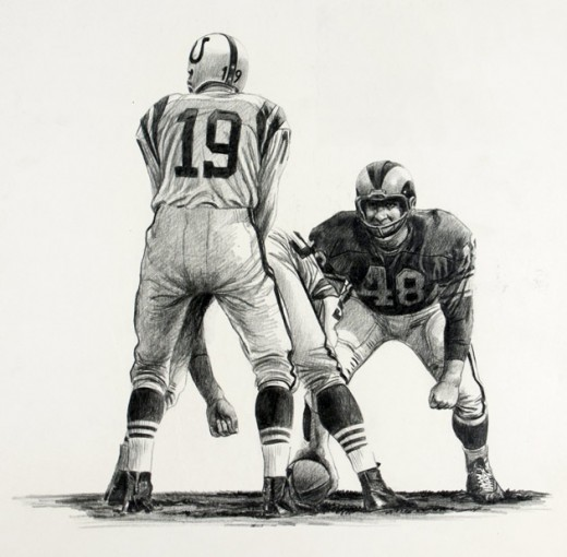These drawings of Rams linebacker Les Richter were created by the noted artist/photographer Dave Boss.