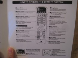 Instructions for the television remote.