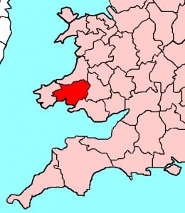 Map location of Carmarthenshire