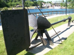 Rudder and propeller from the 1885 'Queen of the Isles' on display at Bracebridge, Muskoka, Ontario