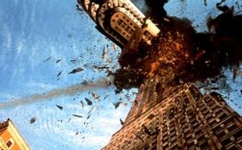 Scene from the movie Armageddon, where a stray piece of asteroid knocks down the Empire State Building.