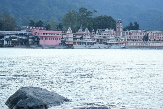 Day View of Rishikesh shot from the banks of River Ganga