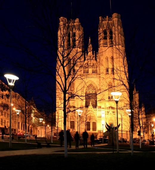 St Michael's Cathedral by night, Brussels, Belgium