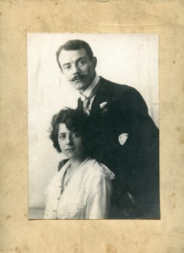 An original photo of my Grandparents, before restoration.