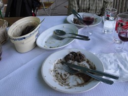 This is what a European table looks like. The cutlery across the plate means the meal is now finished and the waiter can remove everything.