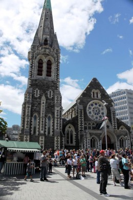 Happier times - A pleasant Sunday in Cathedral Square. Photo credit: Doug Bennett, Copyright 2011