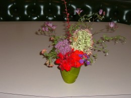 I used a short green vase as contrast to a mix of flowers. The lavender Sedum and the dry Hydrangea create contrast for the red Geranium and purple Toad Lily.