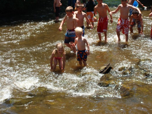 Creek wading is a weekly event at one of our local attractions.