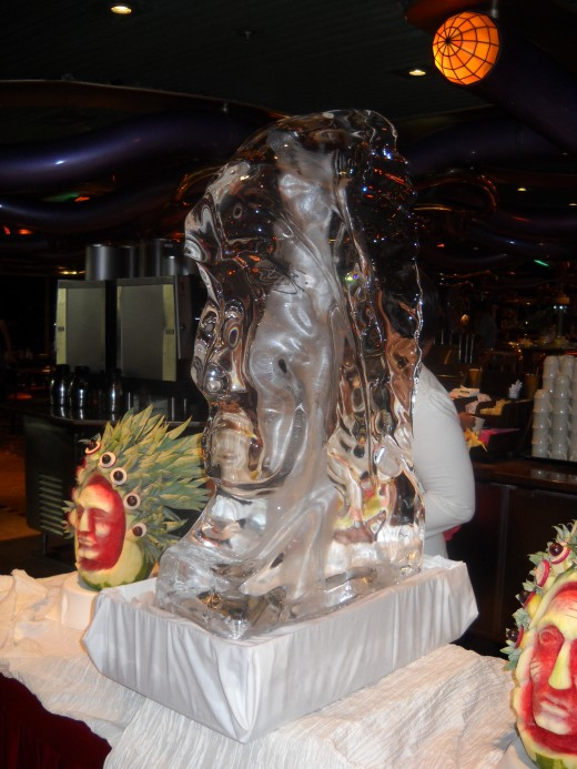Ice sculpture and watermelon carvings at the Mexican fiesta.