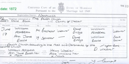 Ann Jane Booth and William Ashbrook's Marriage Certificate