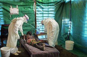 Medical personnel attending to African Ebola virus victims