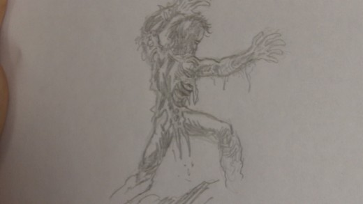 The finished Zombie figure pencil draft.