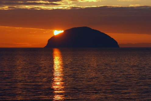 Sunset over Ailsa Craig in the Firth of Clyde