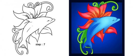 Complete the drawing and clean away the basic frame. Add colour according to your choice. You can use the dolphin design to create a painting, embroidery and even tattoos.