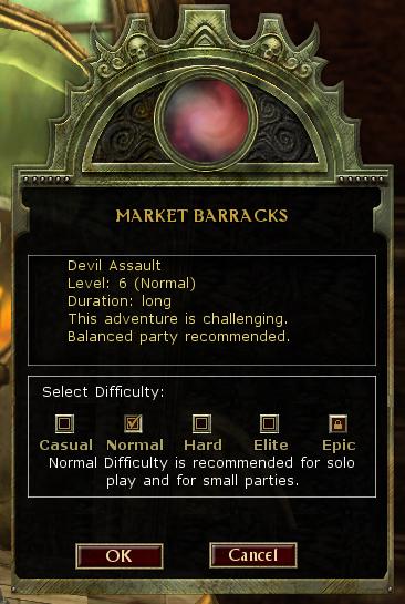 Enter area menu