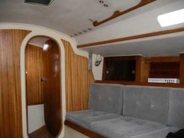 The interior is bright, with nice wood accents