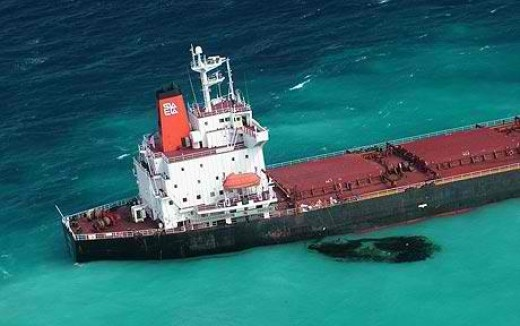 The Shen Neng 1, a giant ore ship, was sailing from the Queensland port of Gladstone to China when it struck the reef, carving a two-mile path of destruction in the coral and spilling two tonnes of heavy oil into the sea.(Mark Chipperfield-16Apr2010)