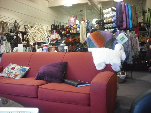 A comfortable inviting space awaits at Artisan Knitworks.